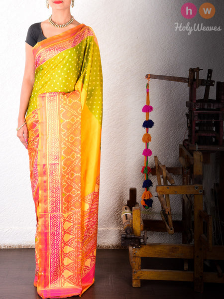 Multi-color Katan Silk Patola Handwoven Saree - HolyWeaves - 2