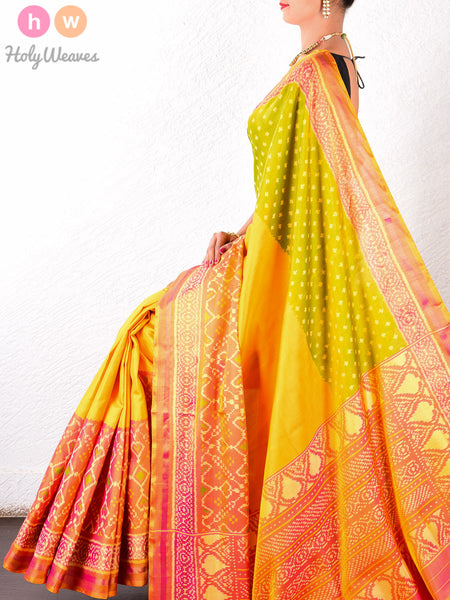 Multi-color Katan Silk Patola Handwoven Saree - HolyWeaves - 1