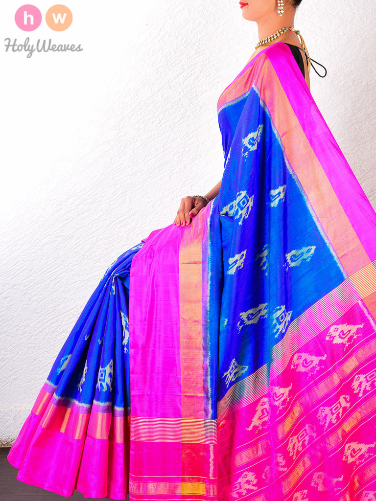 Blue Katan Silk Patola Handwoven Saree - HolyWeaves - 1