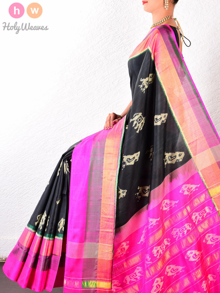 Black Katan Silk Patola Handwoven Saree - HolyWeaves - 1