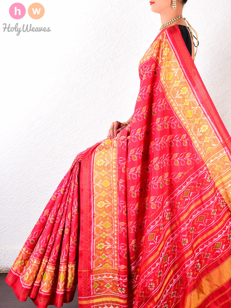 Red Katan Silk Patola Handwoven Saree - HolyWeaves - 1