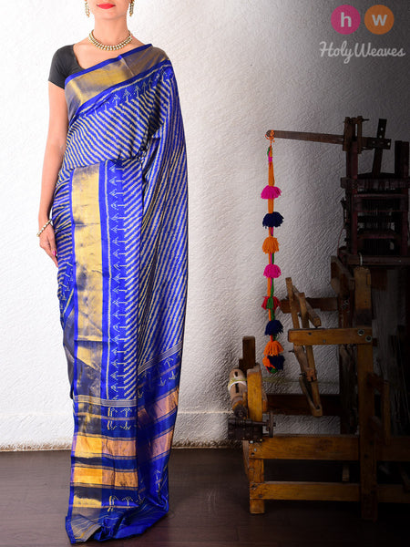 Blue Katan Silk Patola Handwoven Saree - HolyWeaves - 2