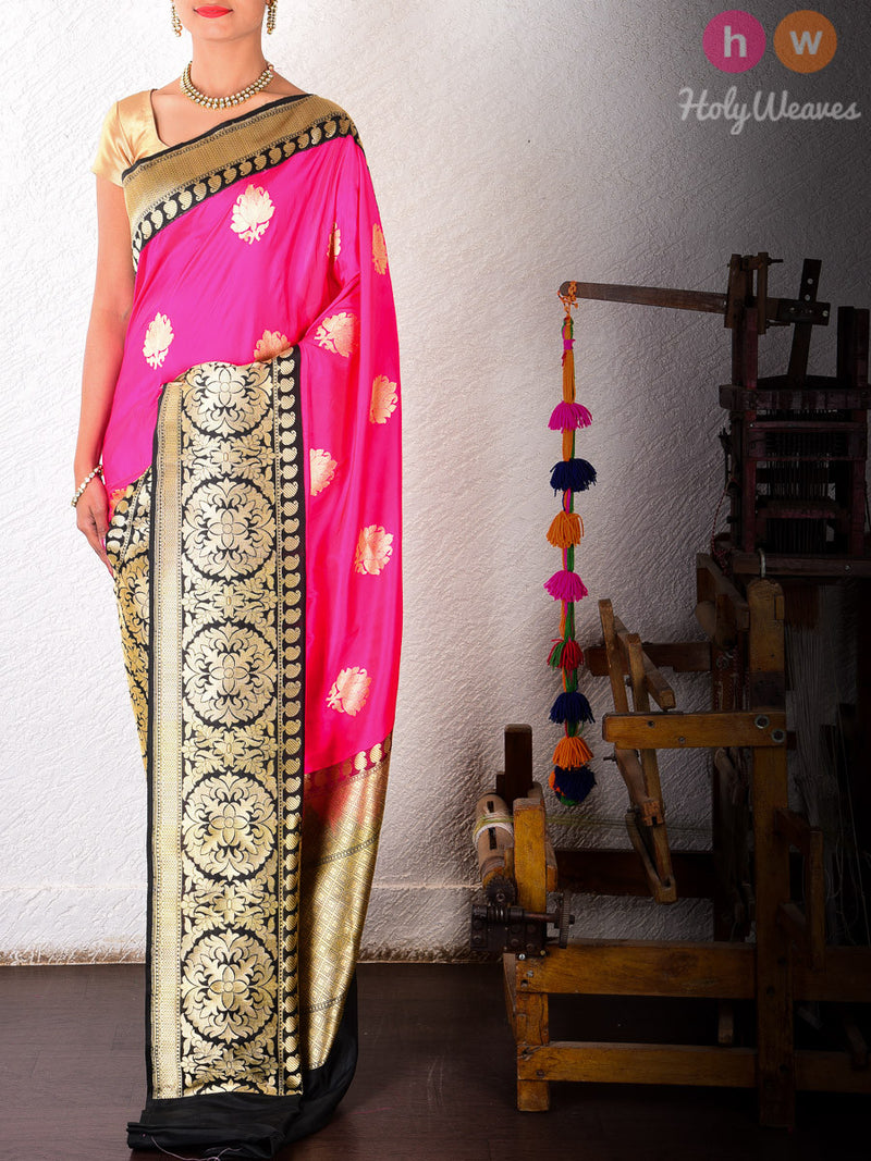 Pink Katan Silk Kadhuan Brocade Handwoven Saree with Black Kadiyal Brocade Borders - HolyWeaves