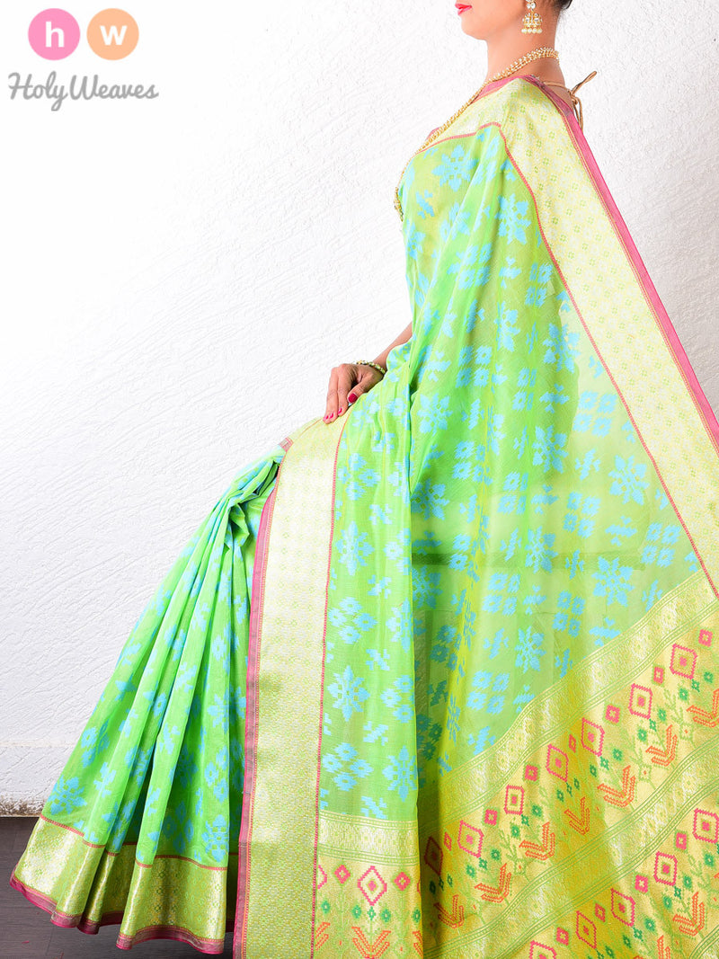Green Cotton Silk Cutwork Brocade Woven Saree - HolyWeaves