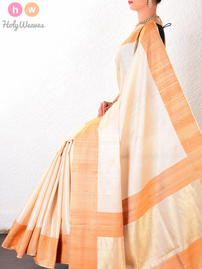 Cream-Orange Tasar Silk Brocade Handwoven Saree - HolyWeaves