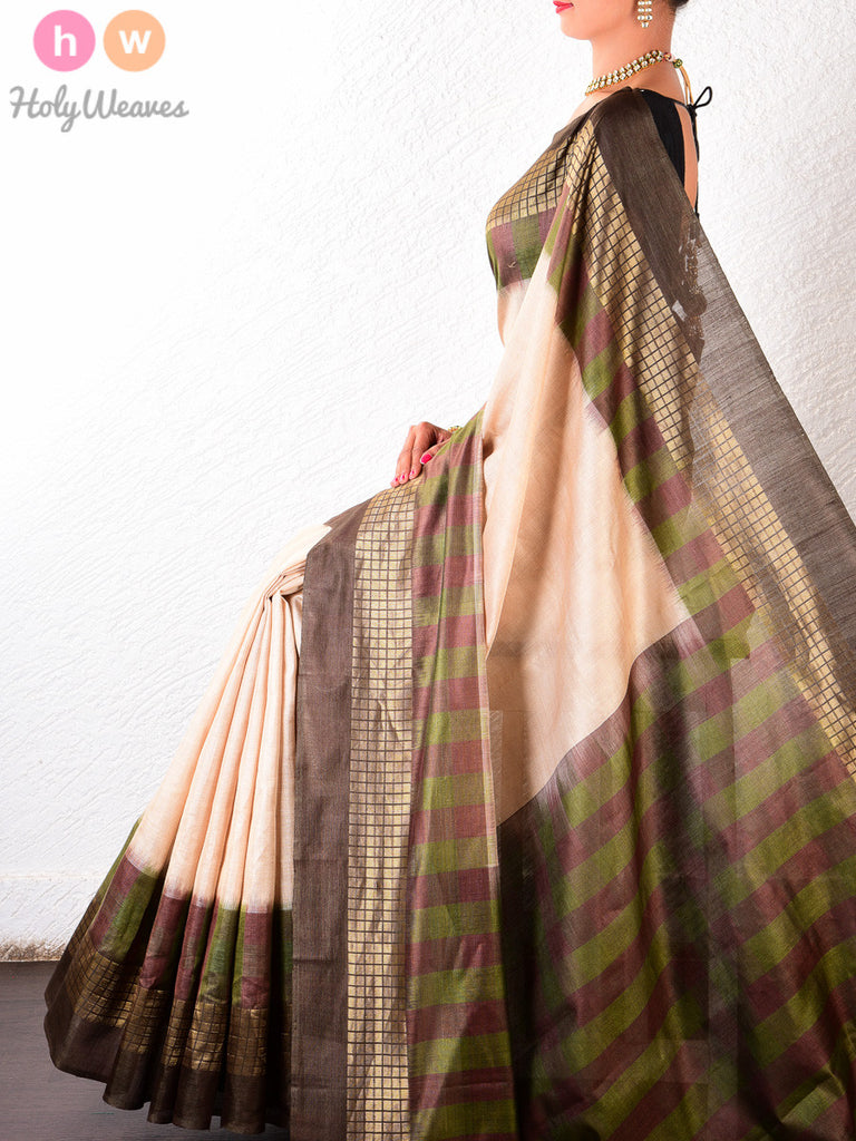 Beige Tasar Silk Brocade Handwoven Saree - HolyWeaves