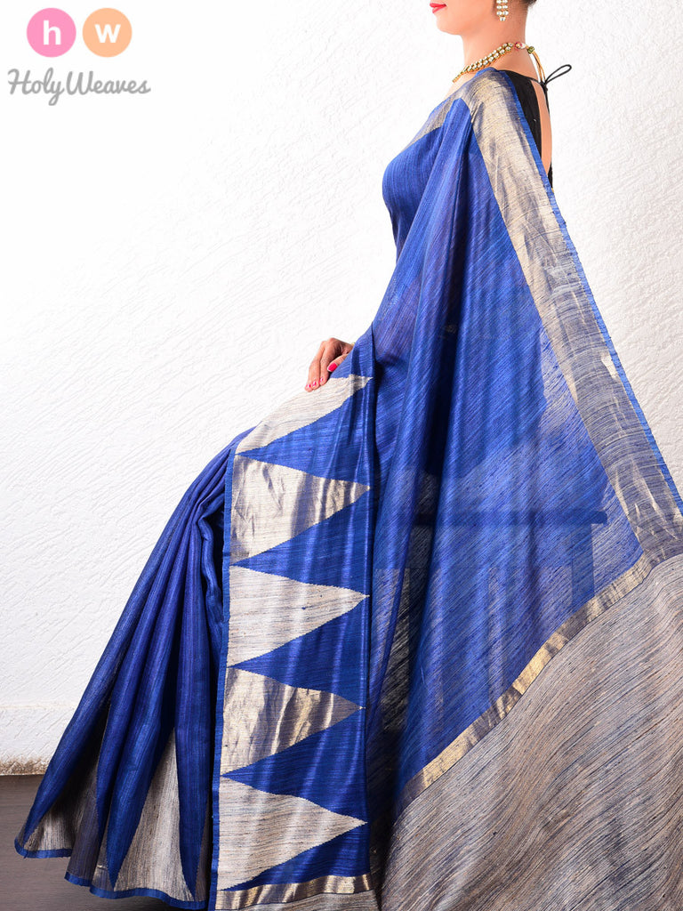 Blue Raw Silk Kadhuan Brocade Handwoven Saree