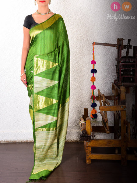 Green Raw Silk Kadhuan Brocade Handwoven Saree