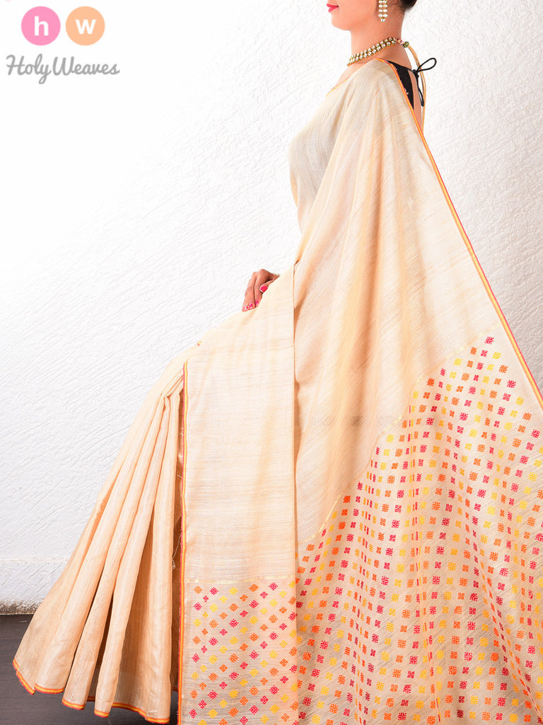 Cream Tasar Silk Kadhuan Brocade Handwoven Saree - HolyWeaves