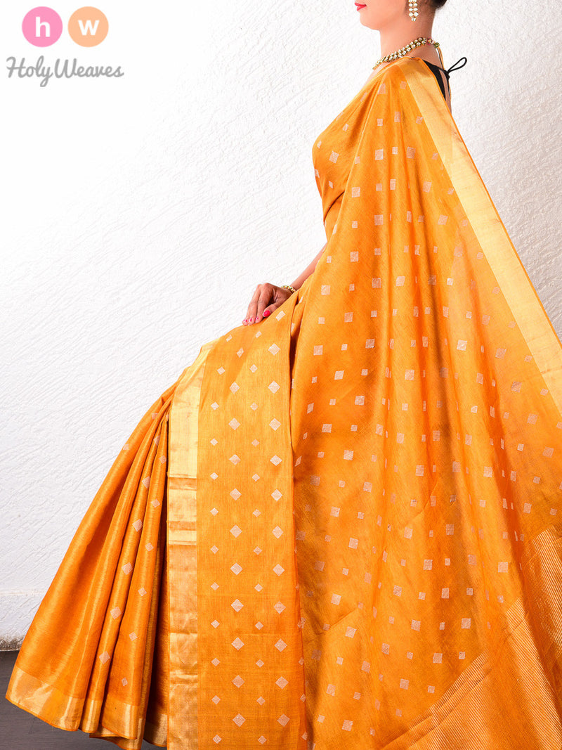 Yellow Tasar Silk Kadhuan Brocade Handwoven Saree - HolyWeaves