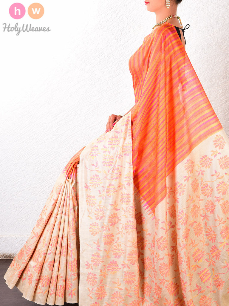 Cream-Orange Muga Silk Kadhuan Brocade Handwoven Saree - HolyWeaves