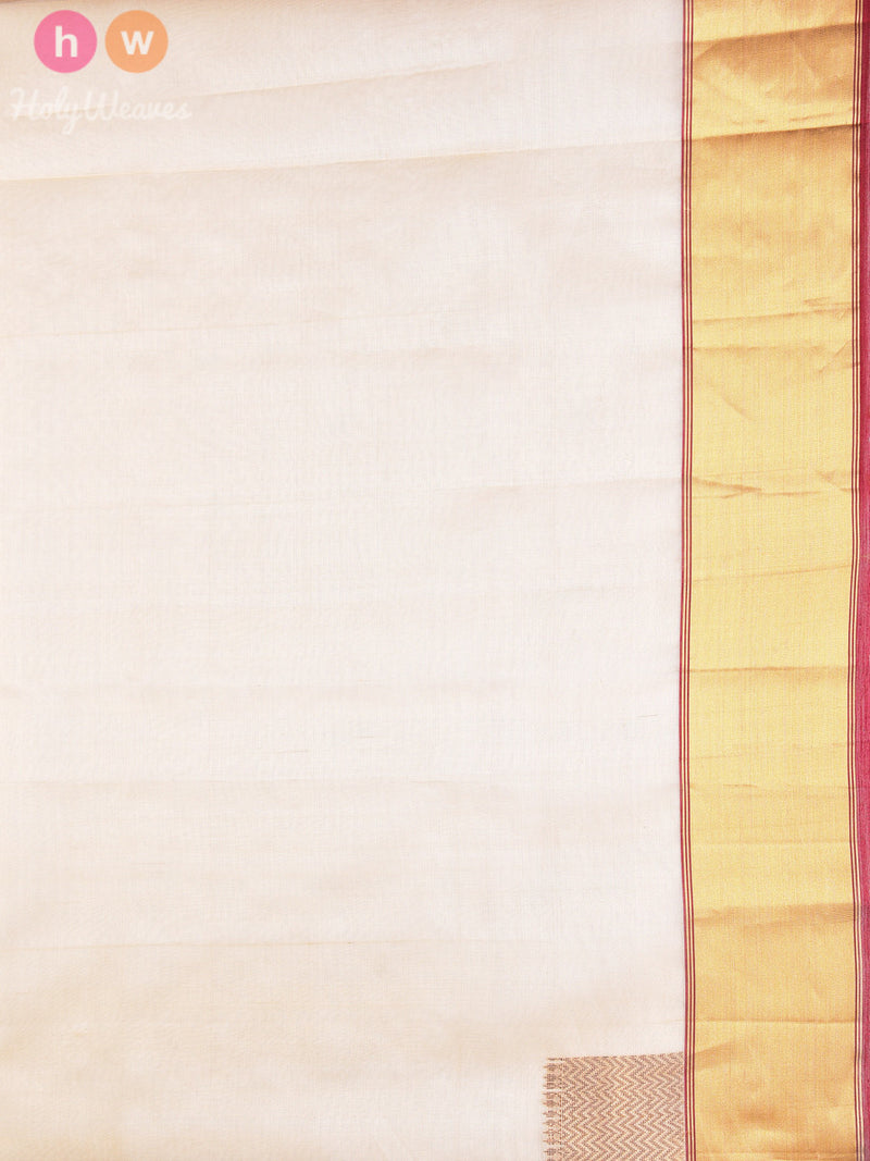 Beige Kora (कोरा) Silk Kadhuan Brocade Handwoven Saree - HolyWeaves