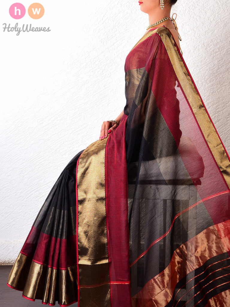 Black Cotton Silk Brocade Handwoven Saree - HolyWeaves