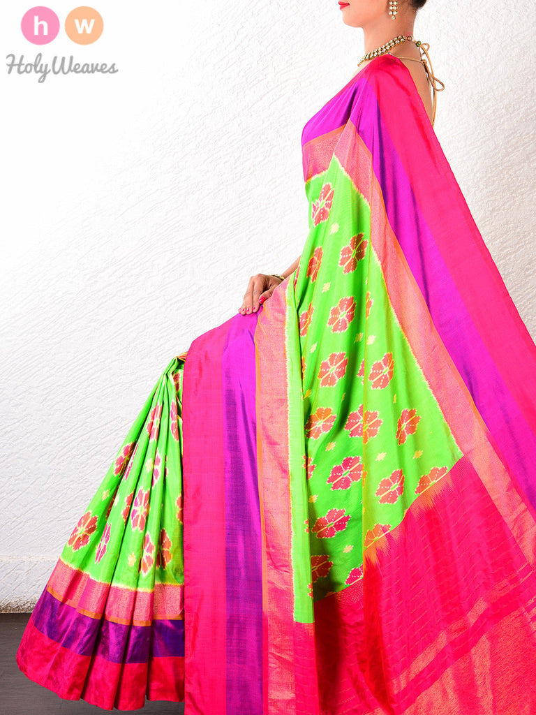 Green Katan Silk Pochampally Handwoven Saree - HolyWeaves - 1