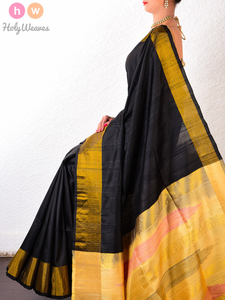 Black Raw Silk Brocade Handwoven Saree