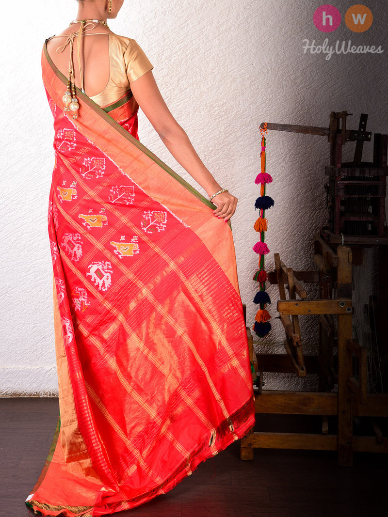 Red Silk Popat Kunjar Pochampally Handwoven Saree - HolyWeaves