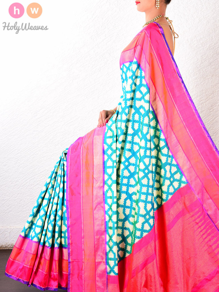 Green Katan Silk Double Ikat Pochampally Handwoven Saree - HolyWeaves - 1