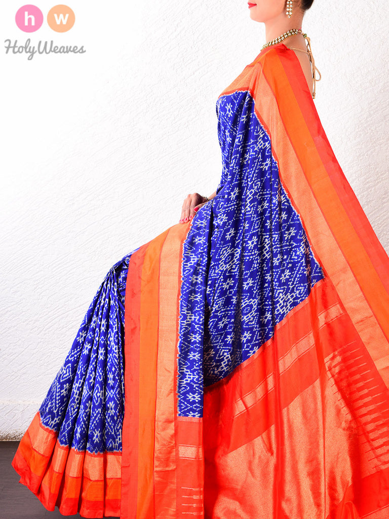 Navy Blue Katan Silk Pochampally Handwoven Saree - HolyWeaves - 1