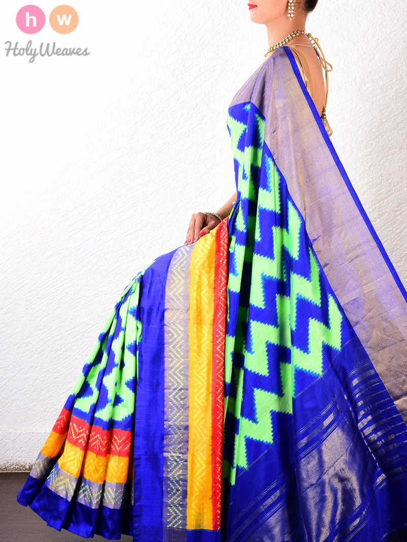 Blue-Green Silk Pochampally Handwoven Saree - HolyWeaves