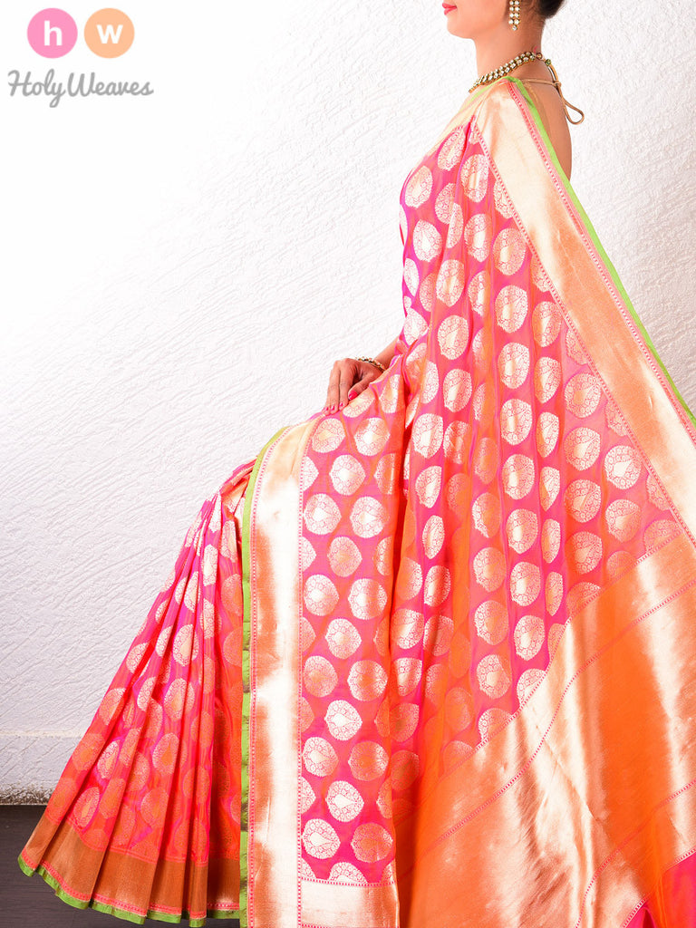 Peach Katan Silk Cutwork Brocade Handwoven Saree - HolyWeaves - 1