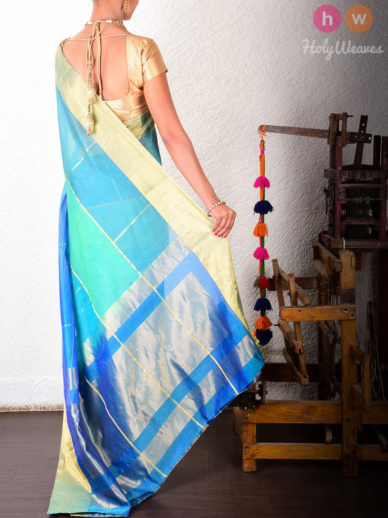 Blue Cotton Silk Brocade Handwoven Saree - HolyWeaves