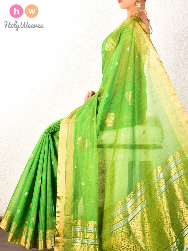 Green Cutwork Brocade Handwoven Pure Cotton Silk Saree - HolyWeaves