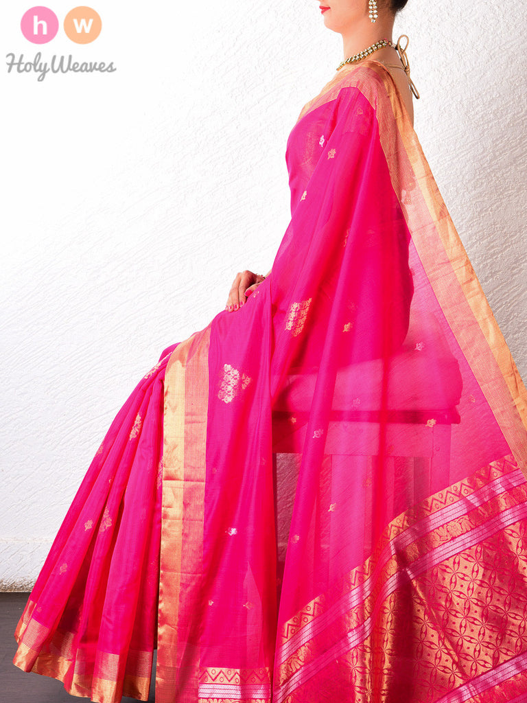 Peach Cotton Silk Cutwork Brocade Handwoven Saree - HolyWeaves