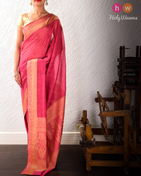 Magenta Banarasi Cutwork Brocade Woven Cotton Silk Saree