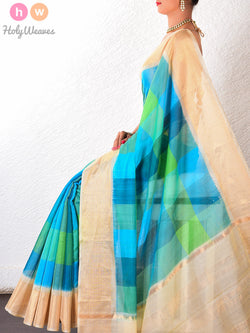 Blue-Green Cotton Silk  Handwoven Saree - HolyWeaves