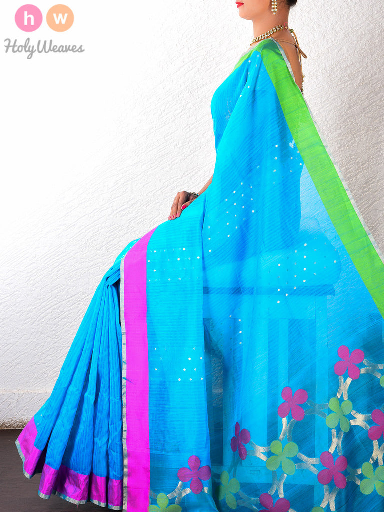 Blue Cotton Silk Cutwork Brocade Handwoven Saree - HolyWeaves