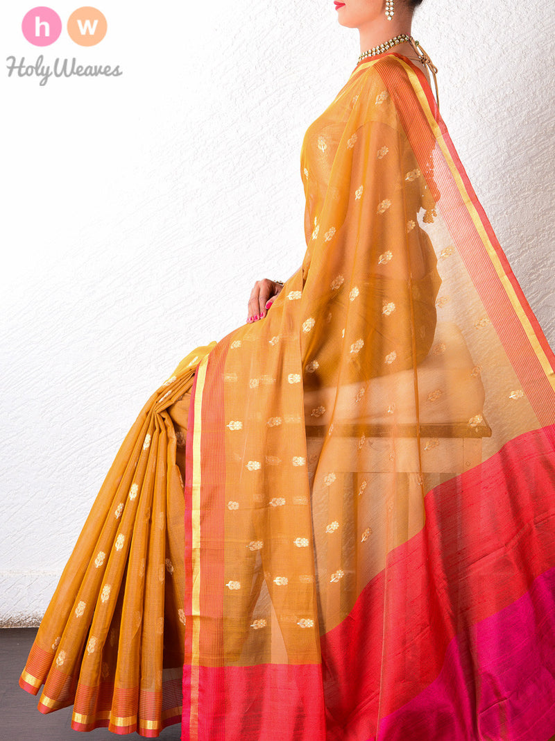 Yellow Cotton Silk Cutwork Brocade Handwoven Saree - HolyWeaves