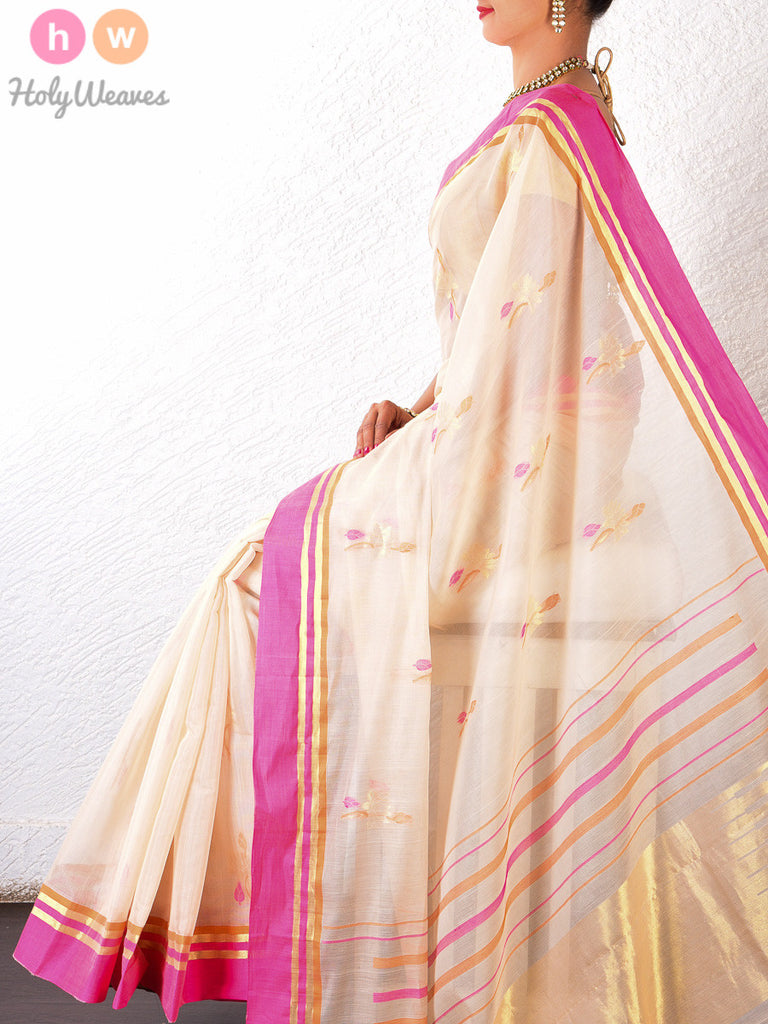White Cotton Silk Cutwork Brocade Handwoven Saree - HolyWeaves