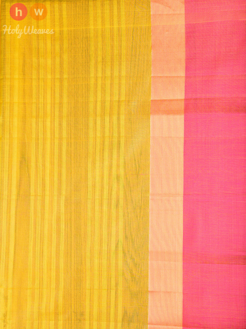 Yellow Cotton Silk  Handwoven Saree - HolyWeaves