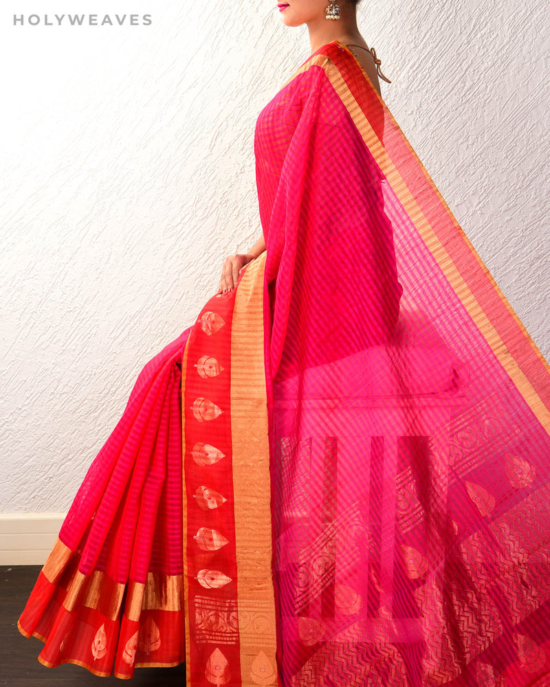 Pink Cotton Silk Kadhuan (कढ़ुआँ) Brocade Handwoven Saree