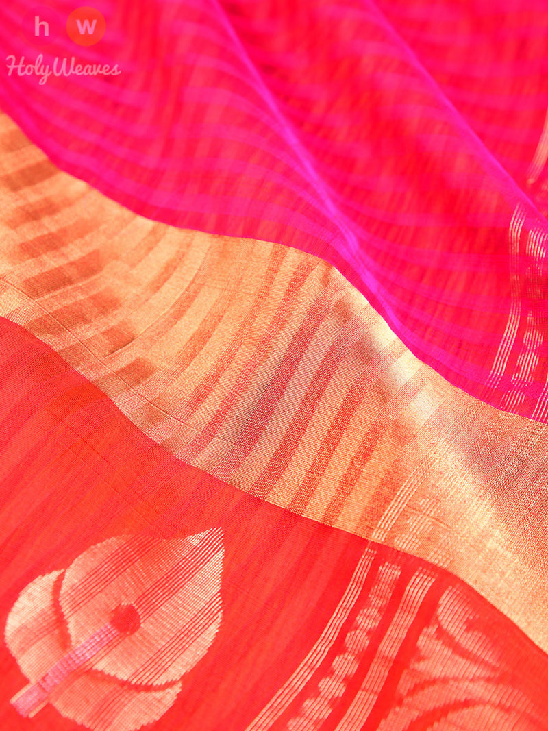 Pink Cotton Silk Brocade Handwoven Saree - HolyWeaves