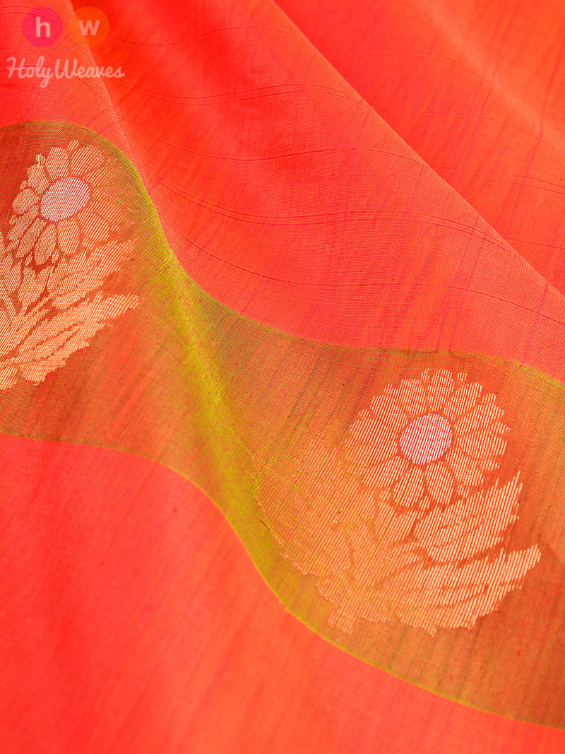 Orange Cotton Silk Brocade Handwoven Saree - HolyWeaves