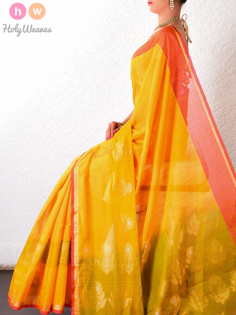 Yellow Cotton Silk Brocade Handwoven Saree - HolyWeaves