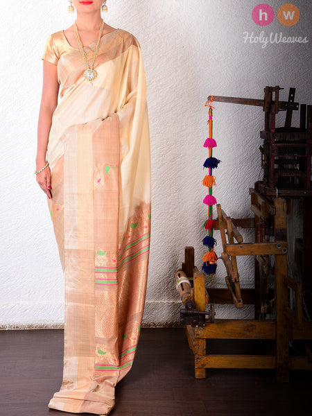 Cream Cotton Silk Peacock Brocade Handwoven Saree