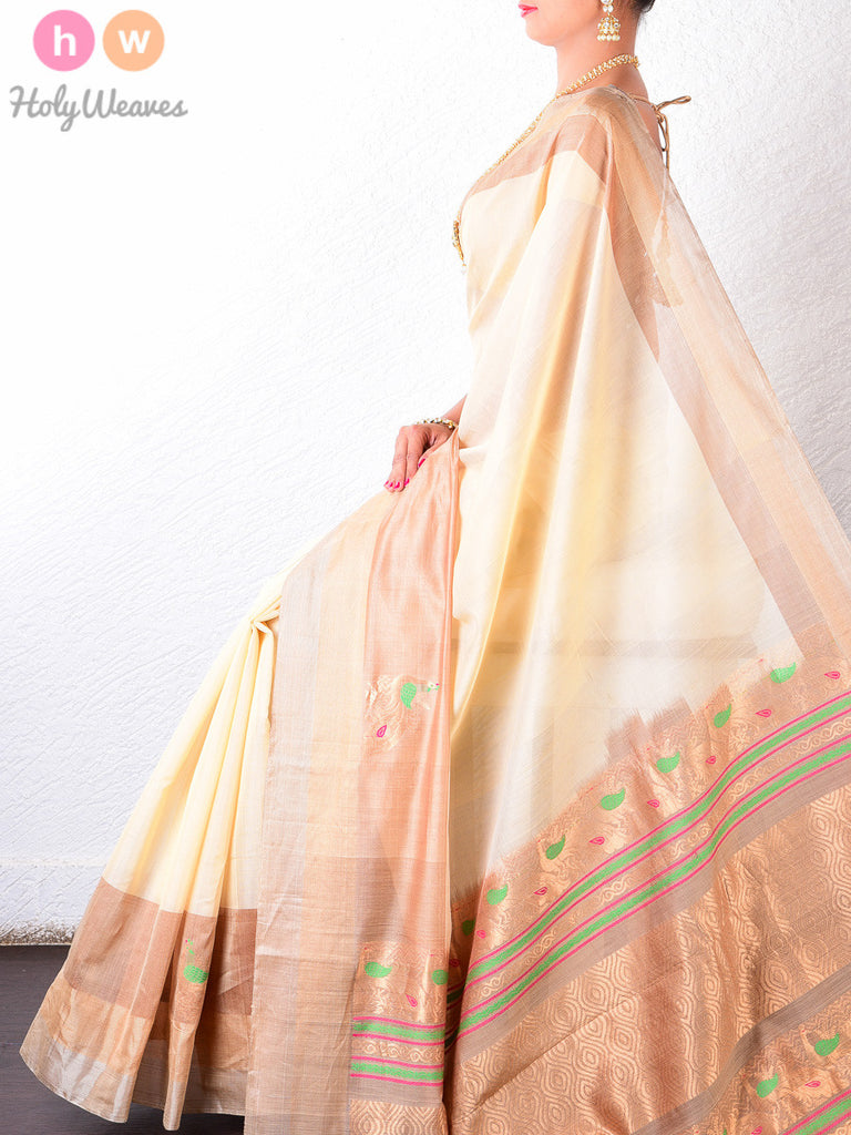 Cream Cotton Silk Peacock Brocade Handwoven Saree - HolyWeaves