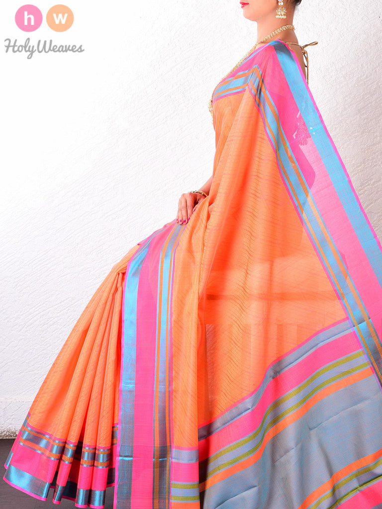 Orange-Blue-Pink Striped Border Cotton Silk Brocade Handwoven Saree - HolyWeaves