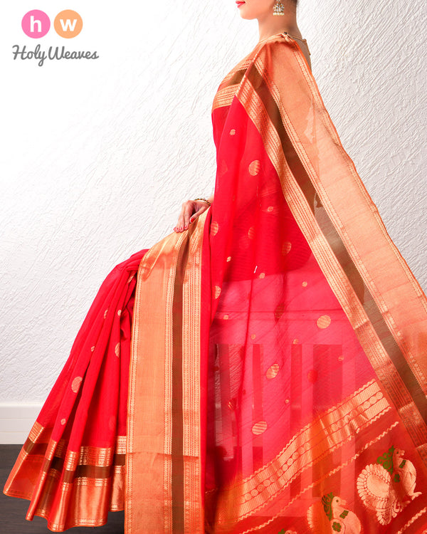 Red Cotton Silk Cutwork Brocade Handwoven Saree- HolyWeaves