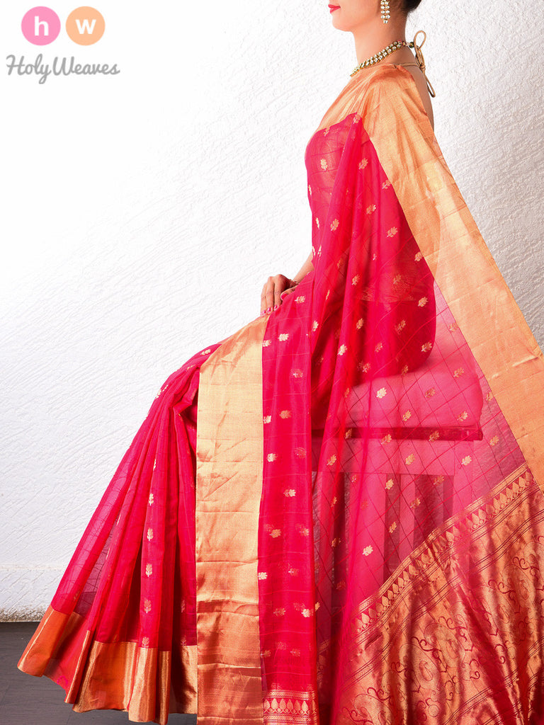 Red Cotton Silk Cutwork Brocade Handwoven Saree