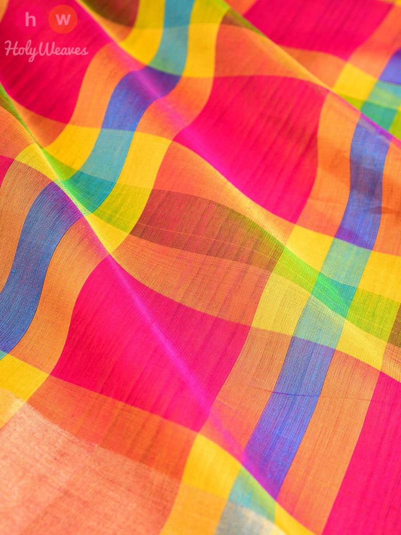 Multi-color Cotton Silk  Handwoven Saree - HolyWeaves
