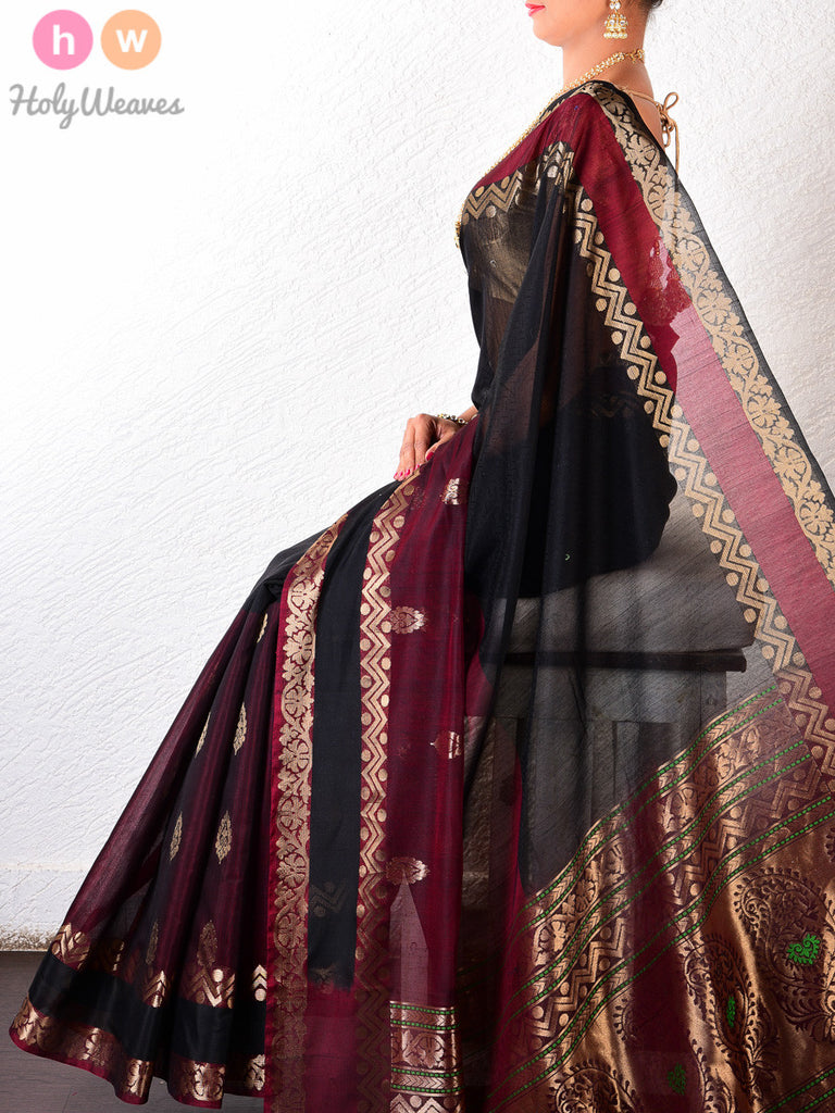 Black & Maroon Cotton Silk Brocade Handwoven Saree