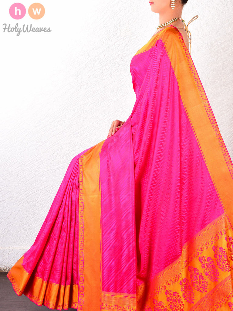 Pink Katan Silk South Tanchoi Brocade Handwoven Saree - HolyWeaves