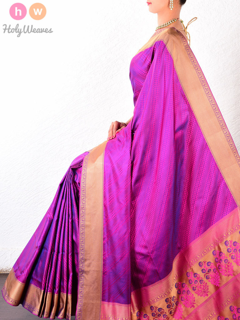 Purple Katan Silk South Tanchoi Brocade Handwoven Saree - HolyWeaves