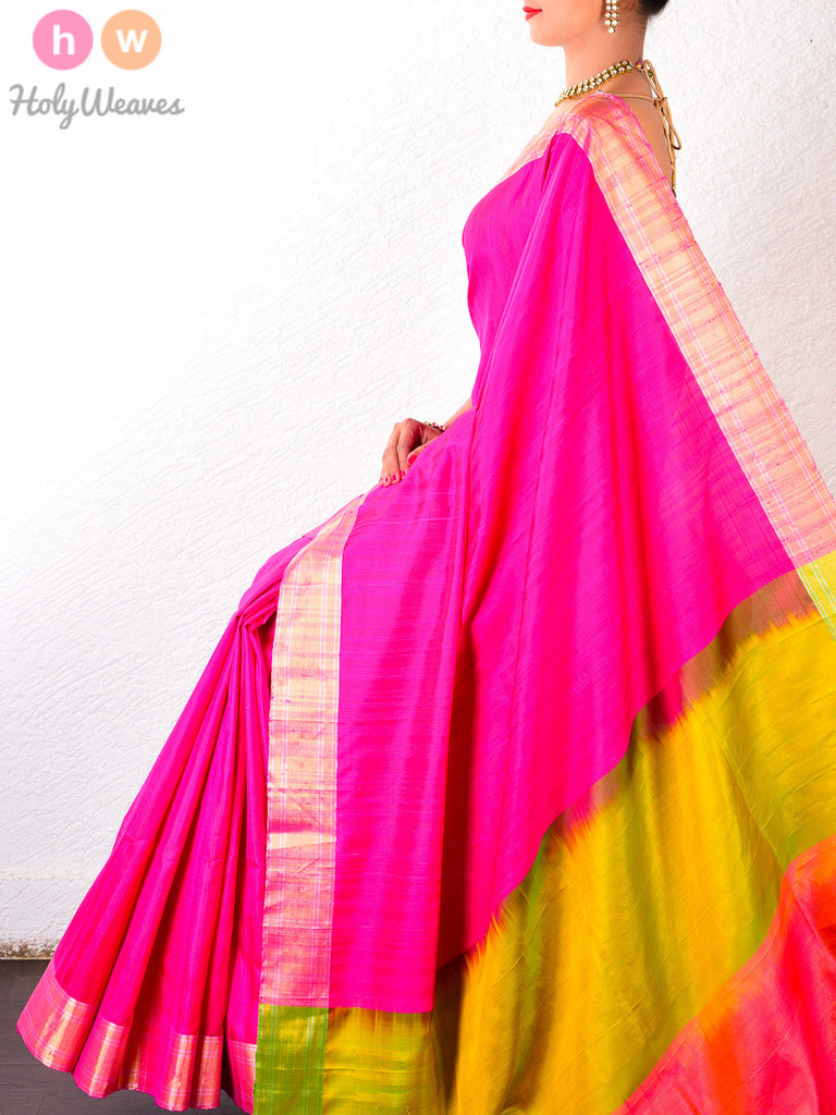 Pink Dupion Silk  Handwoven Saree - HolyWeaves