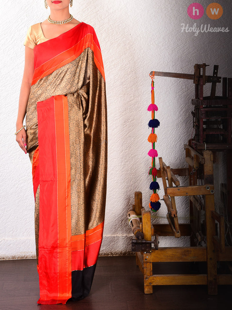 Brown Silk Brocade Handwoven Saree - HolyWeaves