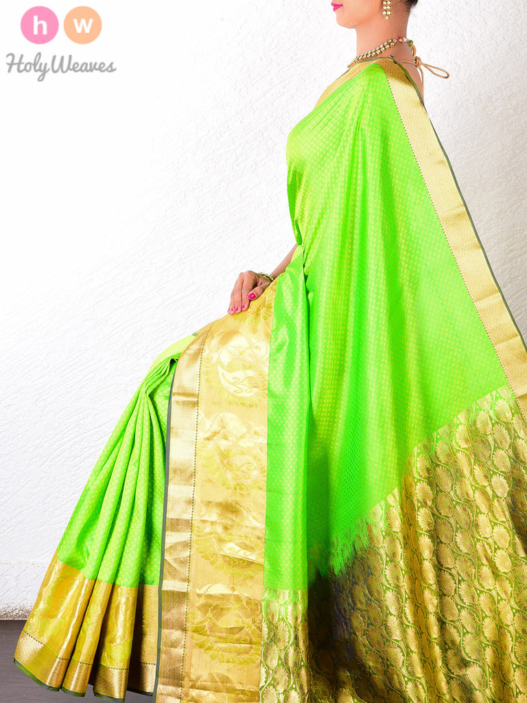 Green Viscose Silk South Tanchoi Brocade Handwoven Saree