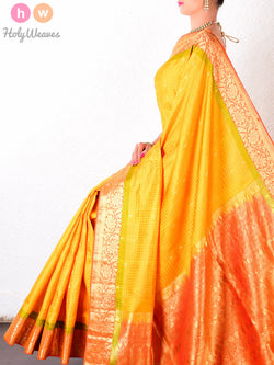 Yellow Viscose Silk Tanchoi Brocade Handwoven Saree - HolyWeaves